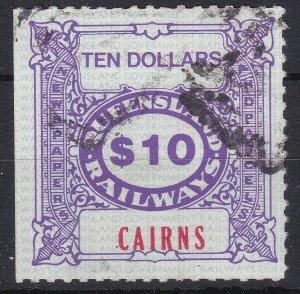 AUC10200) Queensland Cairns $10 railway parcel stamp