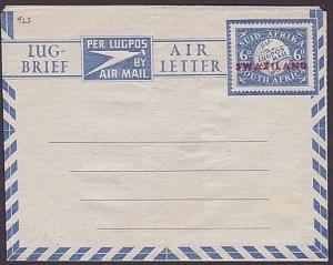 SWAZILAND 6d South Africa airletter optd for use in Swaziland........35306