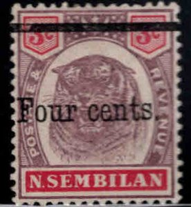 MALAYA Negri Sembilan Scott 19 surcharged Tigers Head stamp MH*