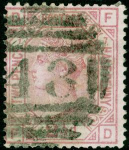 SG141, 2½d rosy mauve PLATE 7, USED. Cat £60. FD