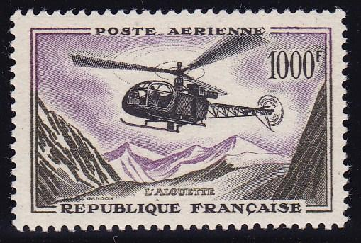 France Air Mail 1957 1000fr Alouette Helicopter XF/NH/(**)  Post Office Fresh
