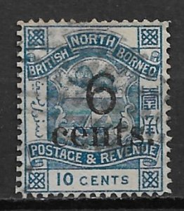 1891 North Borneo 53  6¢ surcharge on 10¢ Coat of Arms used