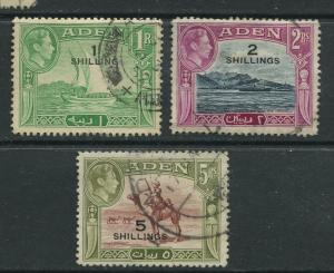 STAMP STATION PERTH Aden #43-45 - KGVI Definitive Overprint 1951 Used CV$17.00.