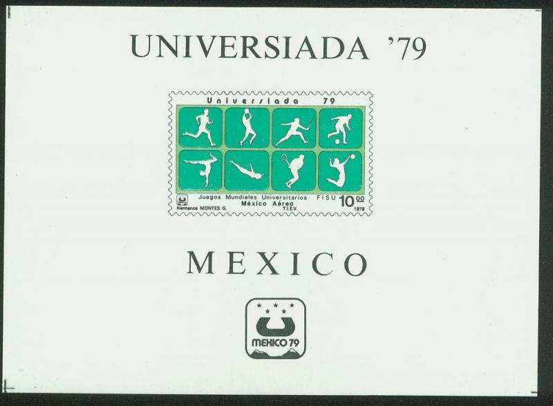 MEXICO C614, International University Games, Air Mail S.S  MINT, NH. F-VF.