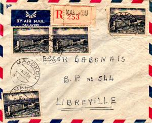 French Equatorial Africa 15F FIDES (4) 1958 Makokou, Gabon Airmail Registered...