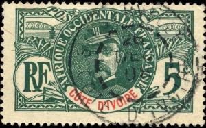 CÔTE-D'IVOIRE - 1908 - CAD BINGERVILLE SUR 5c FAIDHERBE - TRÈS BEAU