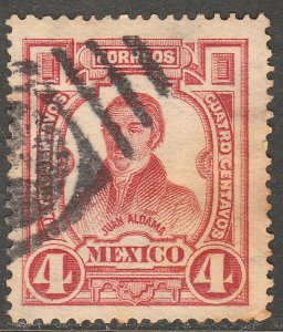 MEXICO 313, 4¢ INDEPENDENCE CENTENNIAL 1910 COMMEM. USED. F-VF. (430)