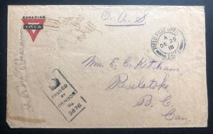 1918 Bonn Germany YMCA Canadian Field Post Censored Cover To Revelstoke WWI