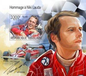 TOGO - 2019 - Tribute to Niki Lauda - Perf Souv Sheet - MNH