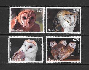 BIRDS - TONGA-NIUAFO'OU #CE1-4  OWLS   MNH