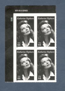 4461 Katharine Hepburn Plate Block Mint/nh (Free Shipping)