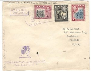 Fiji 1941 Fine cover to Melbourne franked 2½d on 2d, Suva 'Open a Savings Ba...