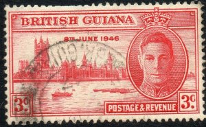1946 British Guiana Sg 320 3c carmine Strong Re-entry at Left Fine Used
