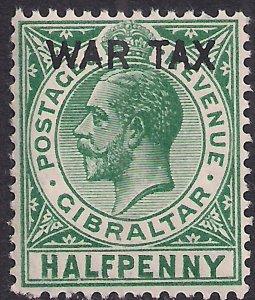 Gibraltar 1918 KGV 1/2d Green Ovpt War Tax Umm SG 86 ( L1379 )