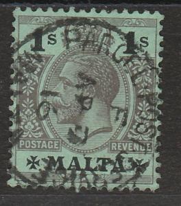 MALTA 1914 KGV 1/- WMK MULTI CROWN CA USED