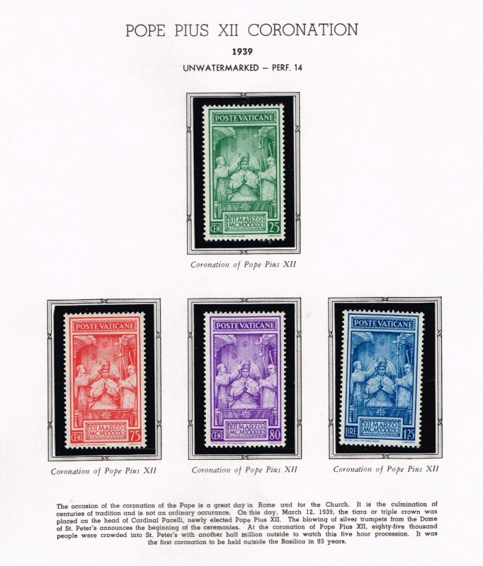 ITALY VATICAN CITY MH/OG STAMPS COLLECTION LOT #10 1939 1939 Crowning SET $50
