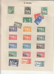 ST HELENA 2 ALBUM PAGE  VALUES MOSTLY 1937-55, MOUNTED MINT