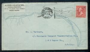 1896 ALFRED DOLGE & SON front/back MAP BUFFALO to NY, 2¢ tied w/flag cancel