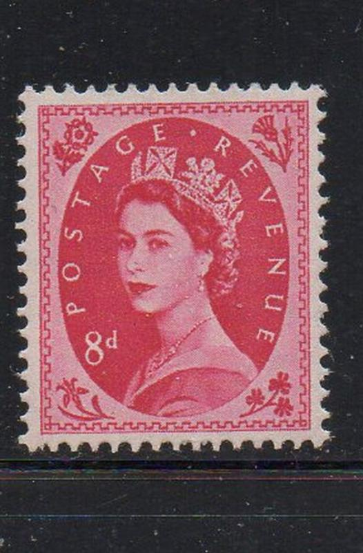 Great Britain Sc 327 1956 8d bright rose QE II stamp mint NH