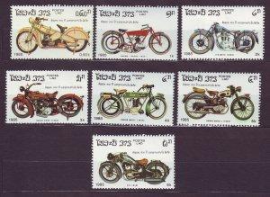 J23426 JLstamps 1985 laos set mhr #620-6 motorcycles