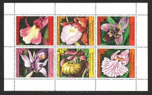 Bulgaria. 1986. Small sheet 3441-46. Orchids, flowers. MNH.