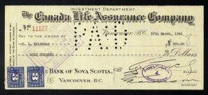 C4 Canada Life Assurance Co. bank draft, 1941, revenue stamp Van Dam #FX64 pair