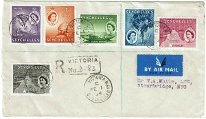Seychelles 1954 Victoria cancel on registered cover to England