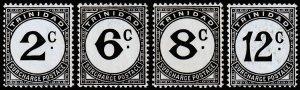 Trinidad & Tobago Scott J9, J11-J12, J14 (1947) Mint H VF, CV $15.75 M