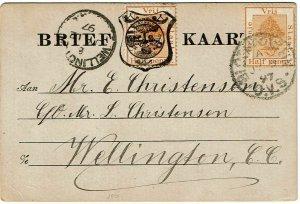 Orange Free State 1897 Bloemfontein cancel on 1/2d provisional postal card CGH