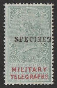 BECHUANALAND 1884 QV Military Telegraphs 10/-, h/s SPECIMEN (SG type 9).