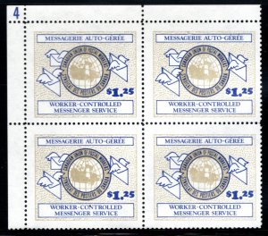 CUPW, Worker Controlled Messenger Service, Canada, $1.25, UL Block of 4, MNH