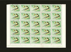 Hungary 1846 Pike (Fish) Half Sheet of 25 1967 CTO PLEASE READ NOTE