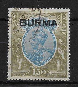 BURMA SG17 1937 15r BLUE & OLIVE USED