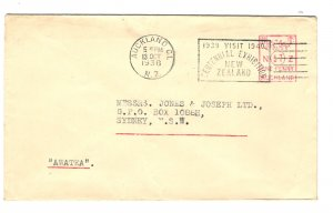 New Zealand 1938 Commercial Ship Mail Cover to Australia  - on the HMT Awatea