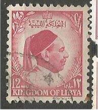 LIBYA, 1952, used 12c, King Idris, Scott 140