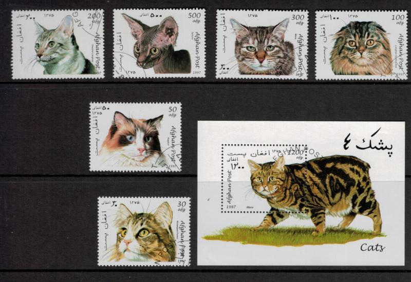 Afghanistan Stamps, Taliban Era Cats From 1997, With Souvenir Sheet, CTO - Fr...