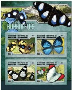 Guinea-Bissau MNH S/S Butterflies Insects 2016 4 Stamps