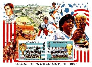 MONGOLIA - 1994 - Football, World Cup   - Perf 2v Souv Sheet  - M N H
