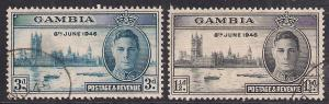 Gambia 1946 KGV1 Set of 2  Victory used stamps SG 162 & 163 ( B556 )