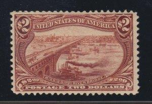 US 293 $2 Trans-Mississippi Mint with PF Cert VF OG VLH SCV $1900