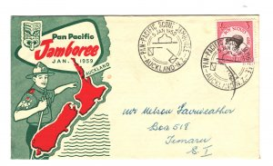 New Zealand Sc#326 First Day Cover - Jamboree Cancel with insert
