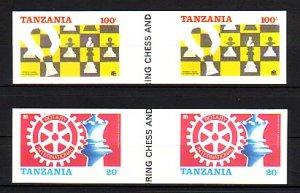 Tanzania, Scott cat. 304B-305B. Rotary & Chess, Gutter IMPERF. Tanzania on top.^