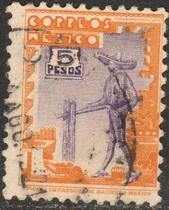MEXICO 720, $5P CHARRO 1934 DEFINITIVE USED. F-VF.  (548)