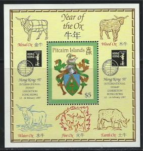 Pitcairn Islands SC463 Souv.Sht.HongKong'97 Coat of Arms MNH 1997