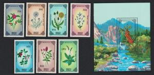 Mongolia Plants 7v+MS 1st series SG#1689-MS1696