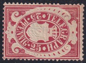 GERMANY STAMP BAVARIA BAYERN TELEGRAPH 1876 MH/NG 25P