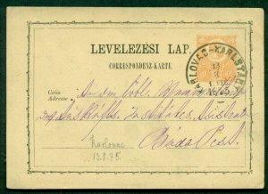 HUNGARY TOWN CANCEL on 1871 2kr POSTAL CARD - KARLOVAC-KARLSTADT