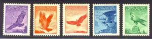 LIECHTENSTEIN #C9-13 Mint NH - 1934 Birds Set