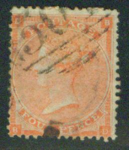 Great Britain Scott 34 1862 Queen Victoia CV$110