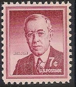 US 1040 Woodrow Wilson 7c single (1 stamp) MNH 1956